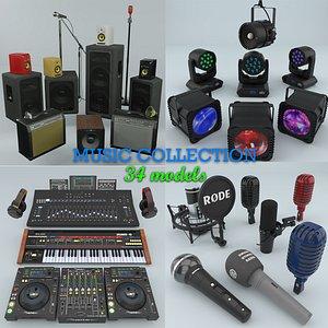 music dj light instruments 3D model