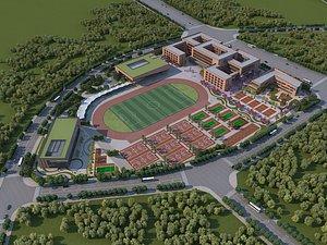 3D Modern high school football field model
