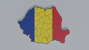 Political Map of Romania 3D model