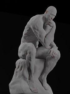 statue thinker sculpted dwayne 3D