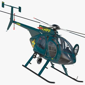 3D model MD 500E Sheriff Helicopter Rigged