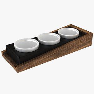 Triple Wooden Porcelain Pet Bowl 3D model
