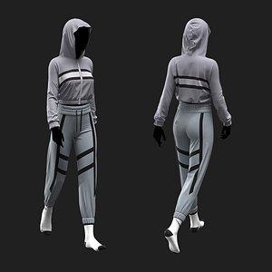 Female Sport Outfit Marvelous Designer project 3D model