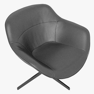 Cassina 277-22 Auckland Arm Chair Black Leather Black Body 3D