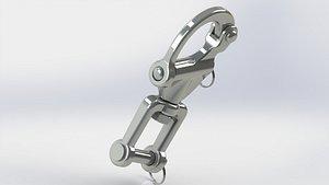 3D carabiner swivel quick