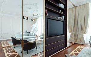 built-in tv wall - 3D