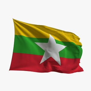3D Realistic Animated Flag - Microtexture Rigged - Put your own texture - Def Myanmar model