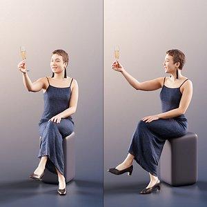 woman sitting champaign 3D model