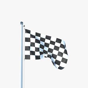 Animated Racing Flag 3D