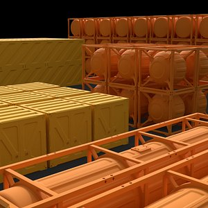 SciFi container pack 3D model