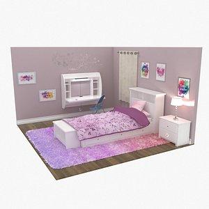 3D bedroom girl desk bed frame