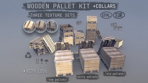 3D Collection Cargo Wood Pallets Collars Cover EUR EPAL