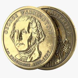 3D dollar coin pbr model