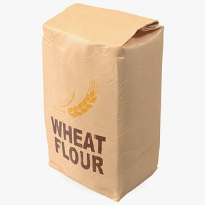 3D Wheat Flour Brown Paper Bag 2lb model