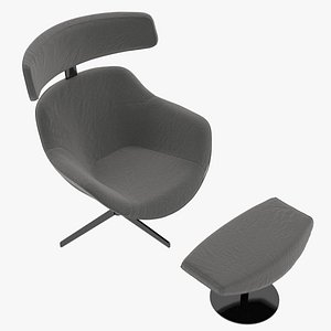 3D Cassina 277-12 Auckland Arm Chair and 277-42 Auckland Ottoman Charcoal Fabric Black Body