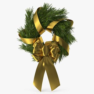 Christmas Wreath with Gold Bow and Ribbon 2 3D model