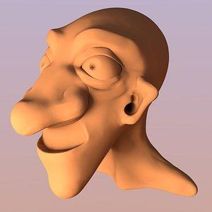 cartoon male head 3D model