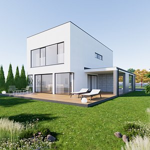 House 1 - Created with fully parametric Revit Families 3D model