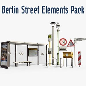 3D Berlin Street Elements Collection - typical German Bus Stop Street Lights Post Box and Signs