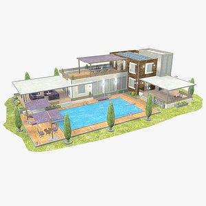 3D - villa modelled model