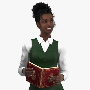 3D model Black Teenage Schoolgirl Rigged for Cinema 4D