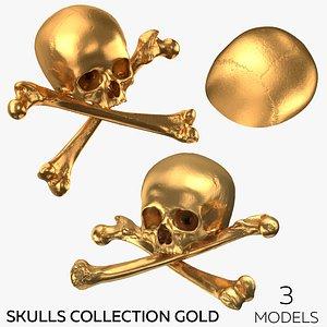 Pirate Skulls and Bones Collection Gold - 3 models 3D model