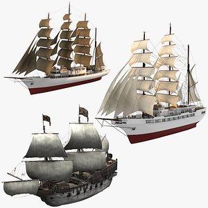 3D model sailing ship