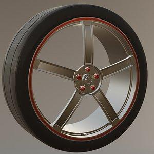 SingleMesh Tire and Rim 3D model