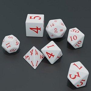 3D RPG dice asset White model