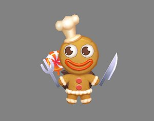 3D Cartoon Gingerbread Man chef - A fairy tale