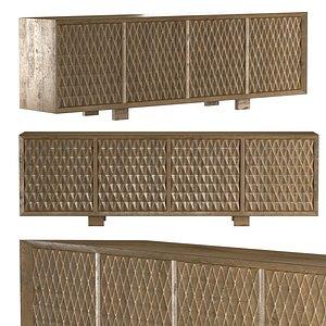 Cerused Oak Four Door Cabinet 3D model