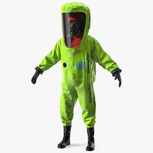 3D Heavy Duty Chemical Protective Suit Neutral Pose Green