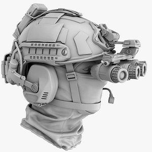 Tactical Ballistic Helmet No Materials 3D model