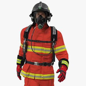 3D Firefighter Fully Equipped Rigged for Maya