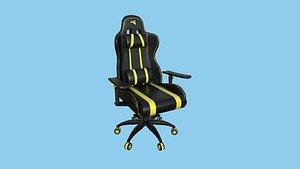 Gamer Chair 02 - Black Yellow - Furniture Interior Design 3D model