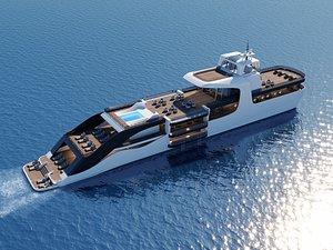 luxury modern yacht 3D model