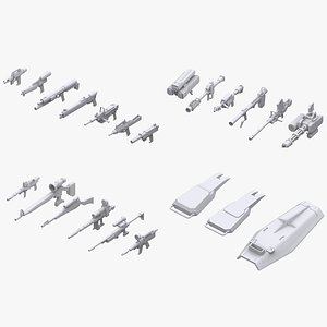 3D gundam federation weapon model