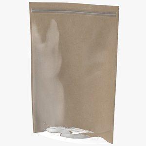 3D Zipper Kraft Paper Bag with Transparent Front 500 g Mockup model