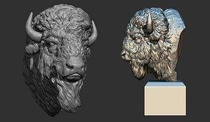 Bison bust 3D