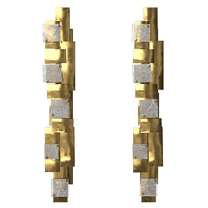 Modernist Pair of Sconces Wall Lamp by Gallery Glustin 3D model