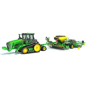 Tractor with Seed Drill 3D model