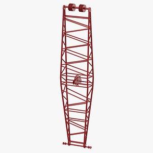 3D crane jib mast red model