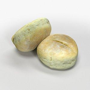 roll bun baked 3D model