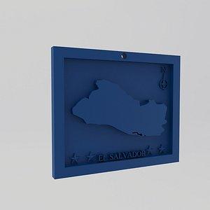 El Salvador Map Print model