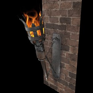 3D Medieval Wall Torch model