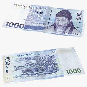 3D model South Korean 1000 Won Banknote