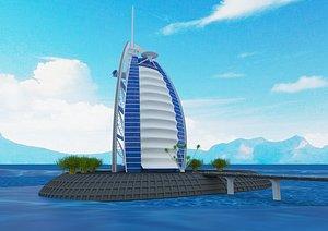 burj el arab building 3D model