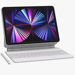 3D Apple iPad Pro 11-inch Silver and Magic Keyboard 2021 model