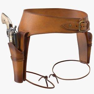 3D model Double Gun Belt Brown with Gun