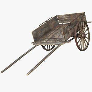 3D model wooden cart wood